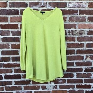Eileen Fisher Wool Tunic Sweater XL Yellow Green